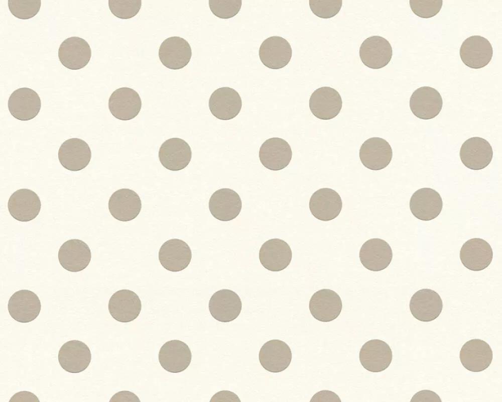Pöttyös mintás gyerek tapéta fehér alapon szürke pöttyös mintával