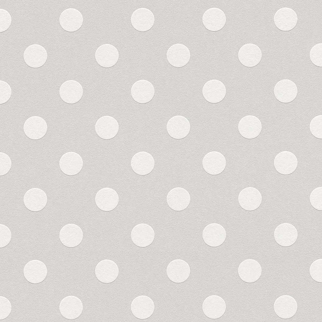Pöttyös mintás gyerek tapéta szürke alapon fehér pöttyös mintával