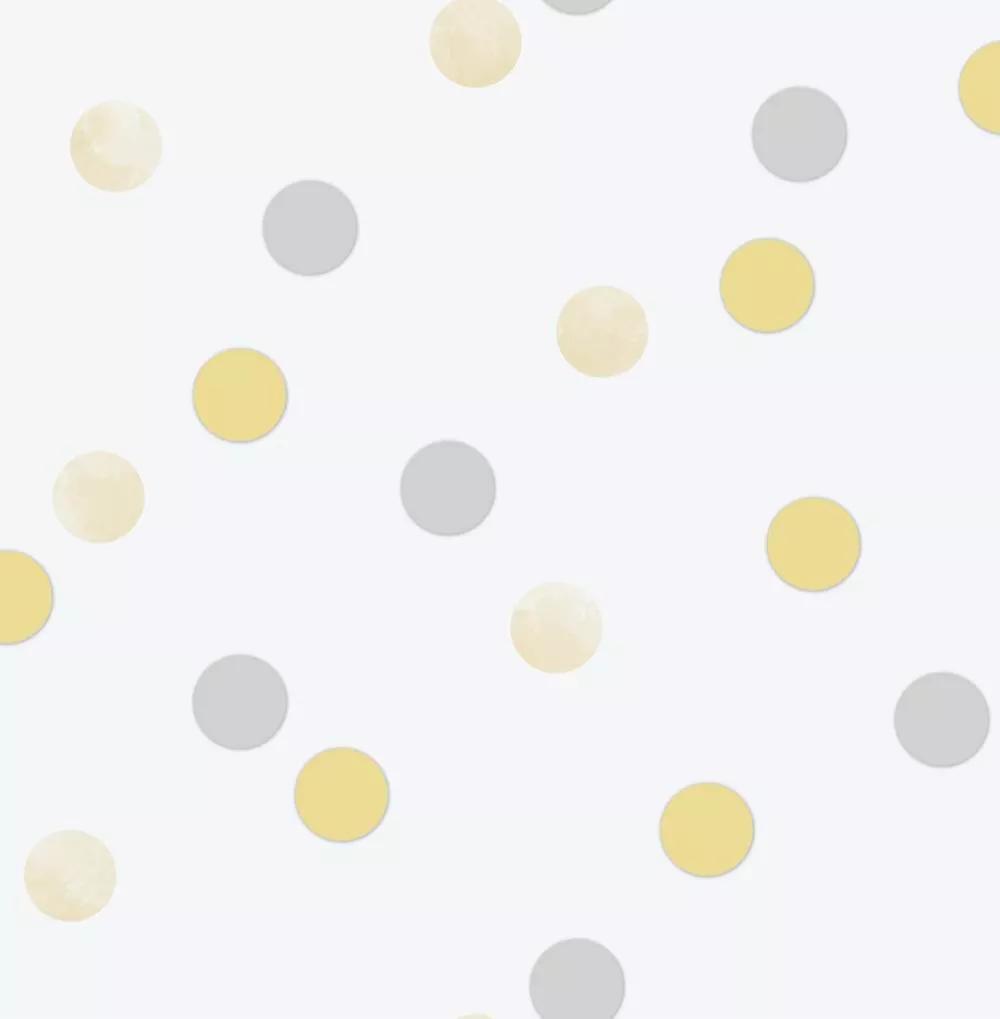 Pöttyös mintás gyerektapéta sárga ezüst pöttyös mintával