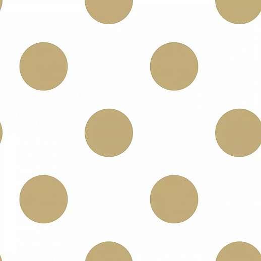 Pöttyös mintás tapéta fehér alapon arany pöttyös mintával