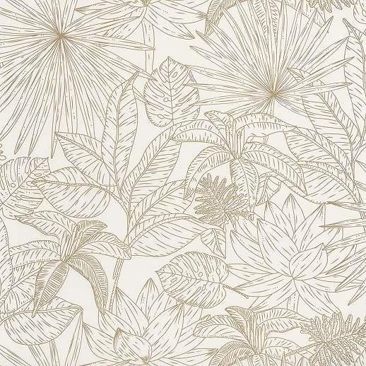 Prémium vlies tapéta krémfehér alapon barna rajzolt skandináv stílusú pálmalevél mintákkal