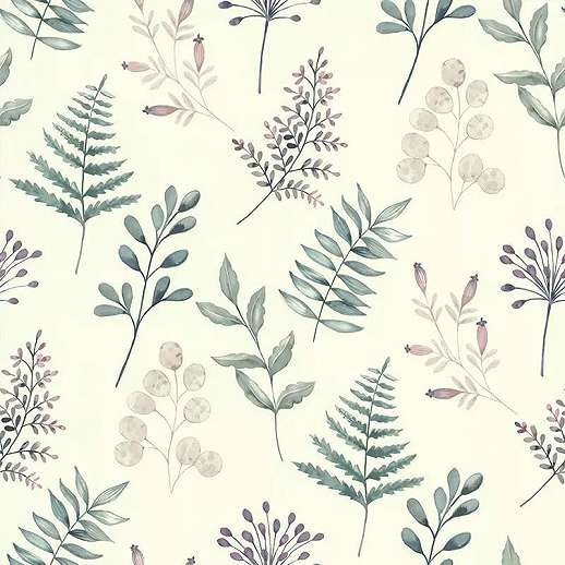 Provance hangulatú virág és levél mintás vlies vinyl mosható dekor tapéta