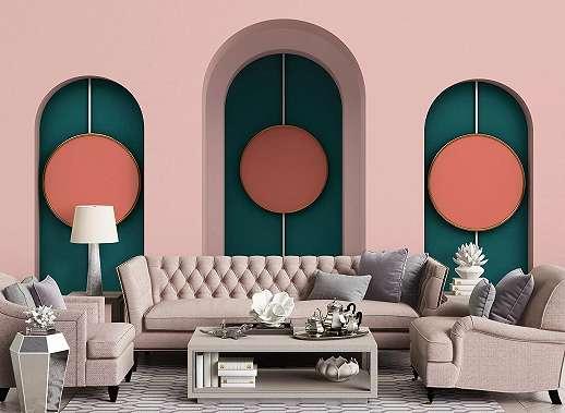 Puder rózsaszín art deco hangulatú óriás fali poszter