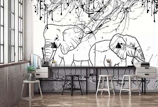 Rajzolt elefánt mintás fali poszter