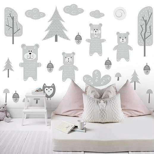 Rajzolt kedves maci, madár és erdei fa mintás skandináv hangulatú fali poszter gyerekszobába