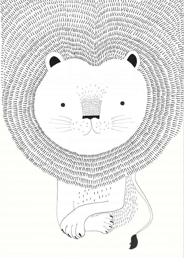 Rajzolt oroszlán fali poszter