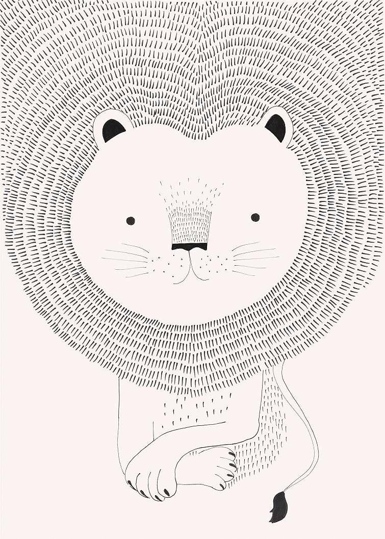 Rajzolt oroszlán rózsaszínű árnyalatban fali poszter