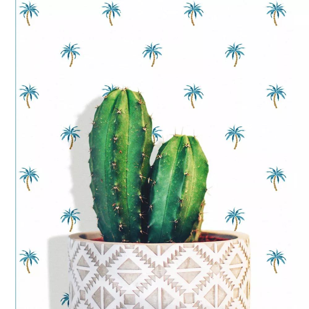 Rajzolt pálmafa mintás vlies dekor tapéta