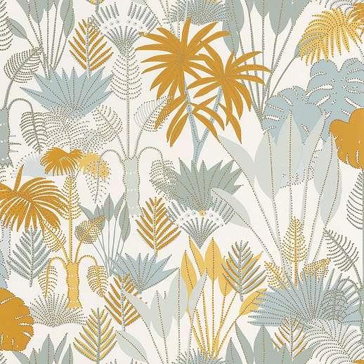 Rajzolt stílusú dzsungel mintás vlies prémium tapéta világoskék sárga színekkel