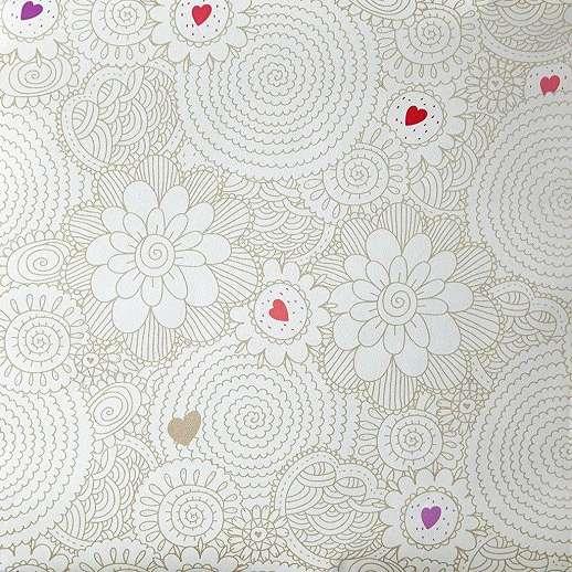 Rajzolt virág és színes szívecske mintás gyerektapéta