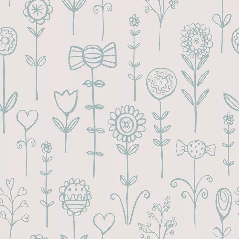 Rajzolt virág mintás gyerek tapéta