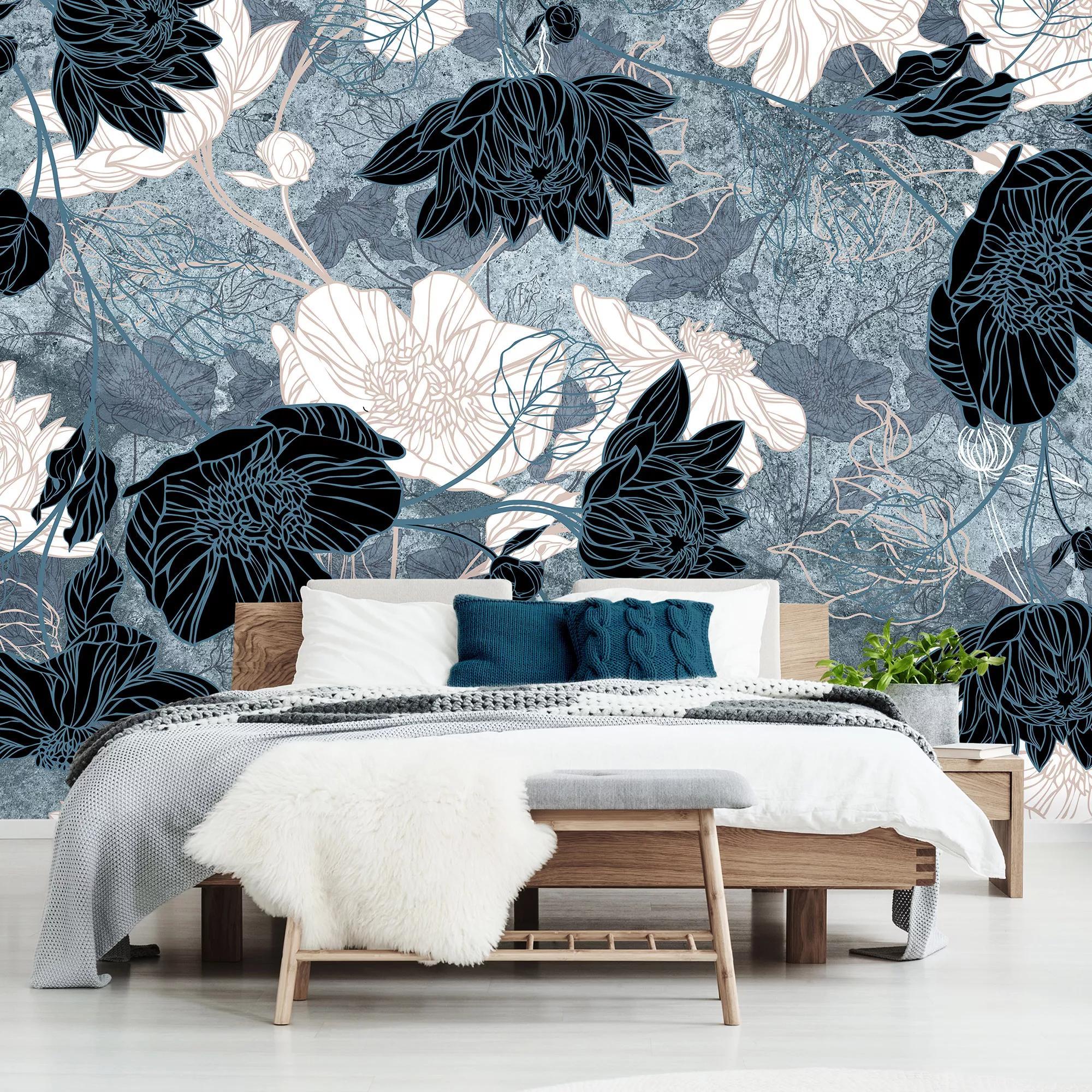 Rajzolt virágmintás fali poszter kék színvilágban
