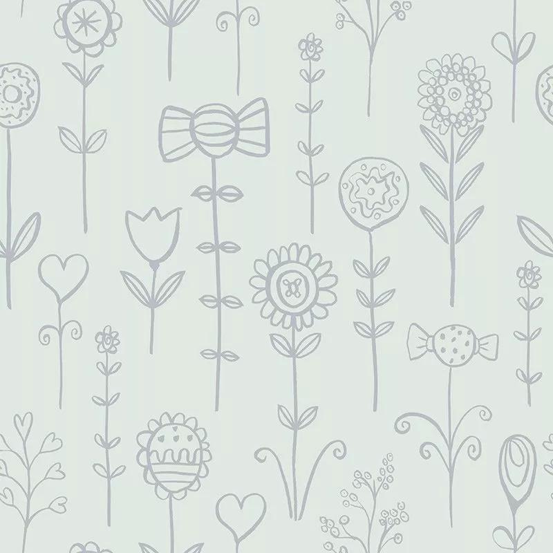 Rajzolt virágmintás gyerek tapéta celadon zöld alapon ezüst virág mintával