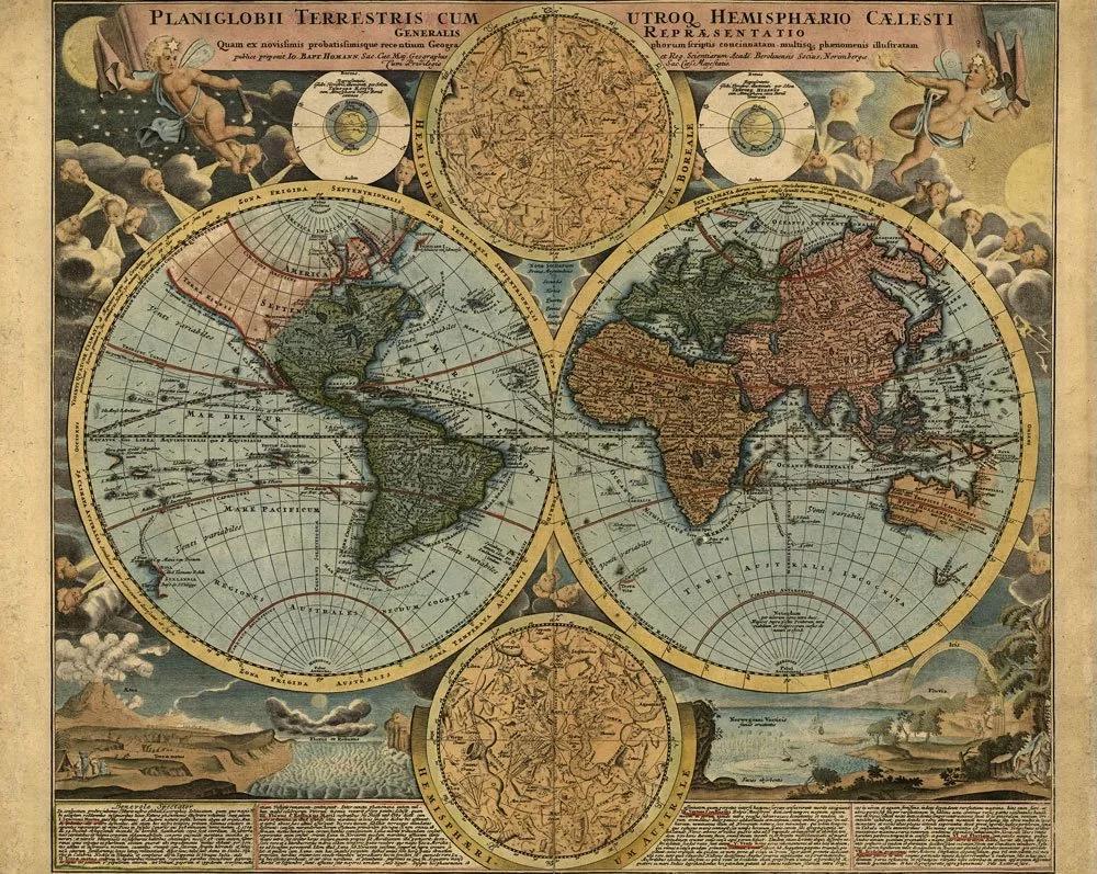Régi világtérkép mintás vlies fali poszter