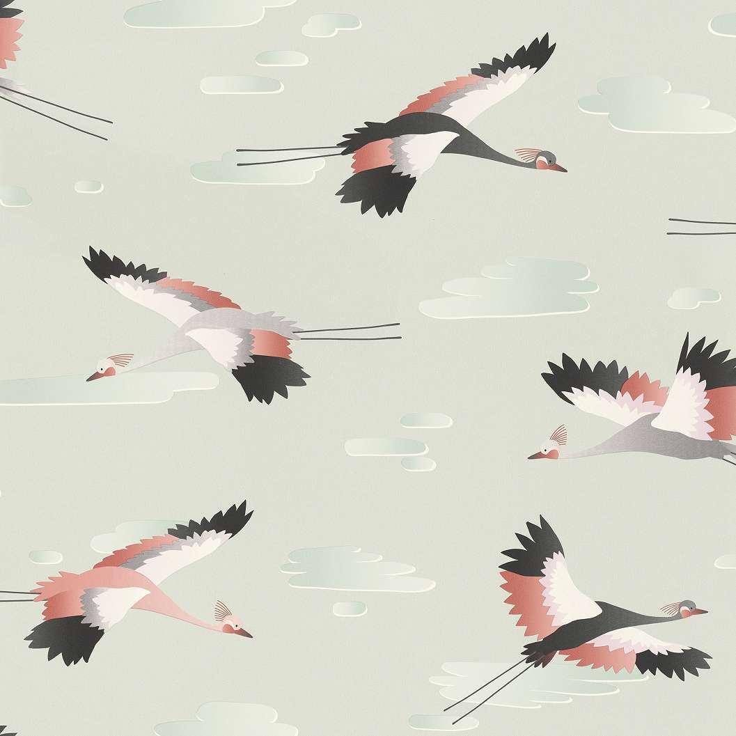 Repülő madár mintás gyerek tapéta halvány pasztell zöld alapon