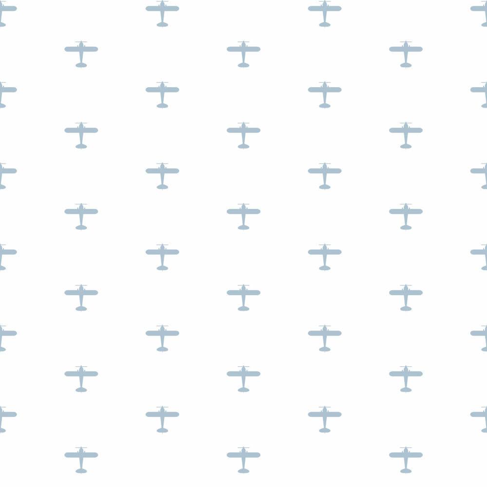 Repülő mintás gyerek tapéta világoskék repülőkkel
