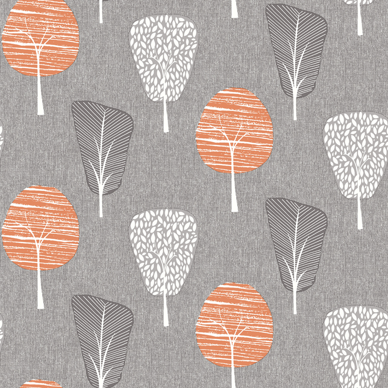 Retro famintás tapéta szürke alapon narancs fa mintákkal