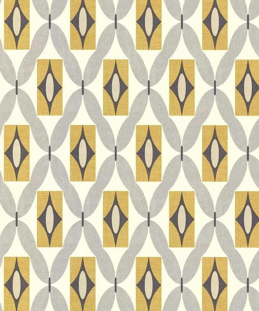 Retró geometrikus mintás tapéta sárga szürke színben