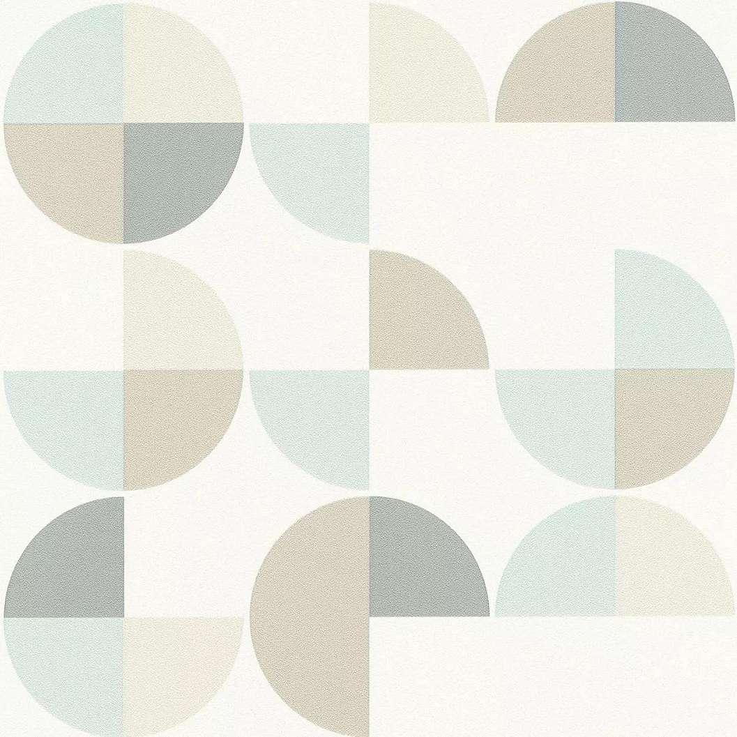 Retro geometrikus mintás vlies tapéta kék-bézs kör mintával
