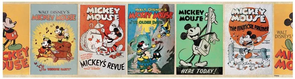 Retro Mickey egér mintás bordűr gyerekszobába
