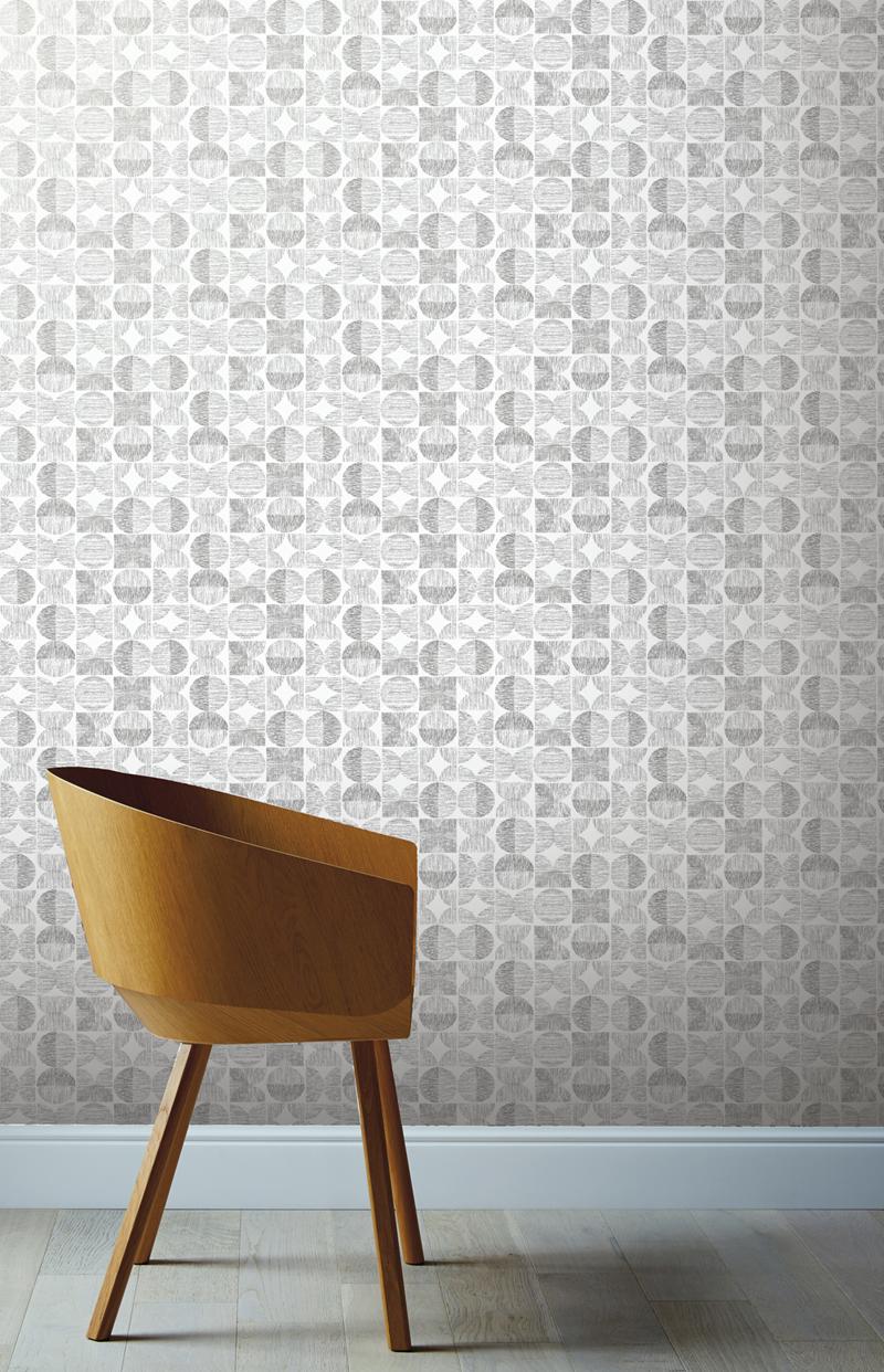 Retro mintás tapéta klasszikus retro félkör mintával szürke színben