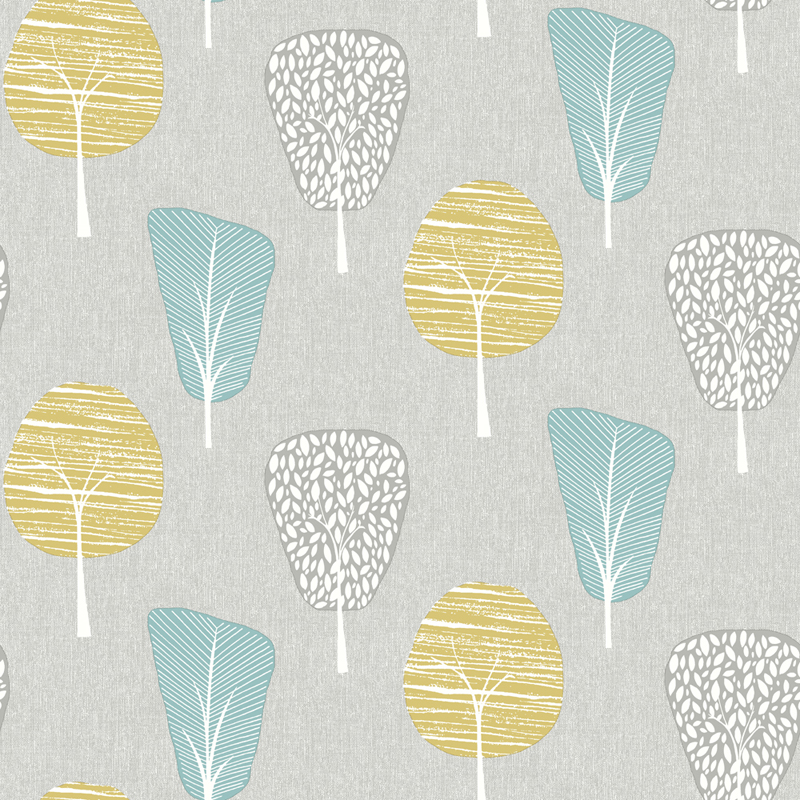 Retro rajzolt erdő mintás tapéta, szürke, kék, sárga fa mintákkal