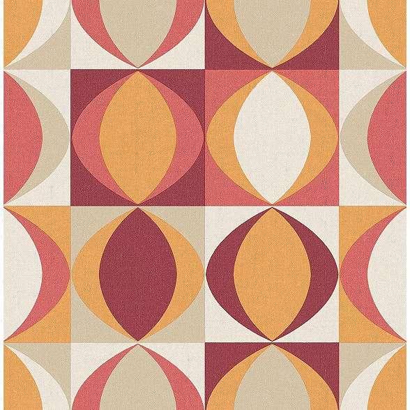 Retro stílusú vlies tapéta geometrikus mintákkal