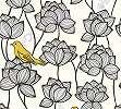 Retro virág és madár mintás vlies tapéta fehér alapon sárga madár mintával
