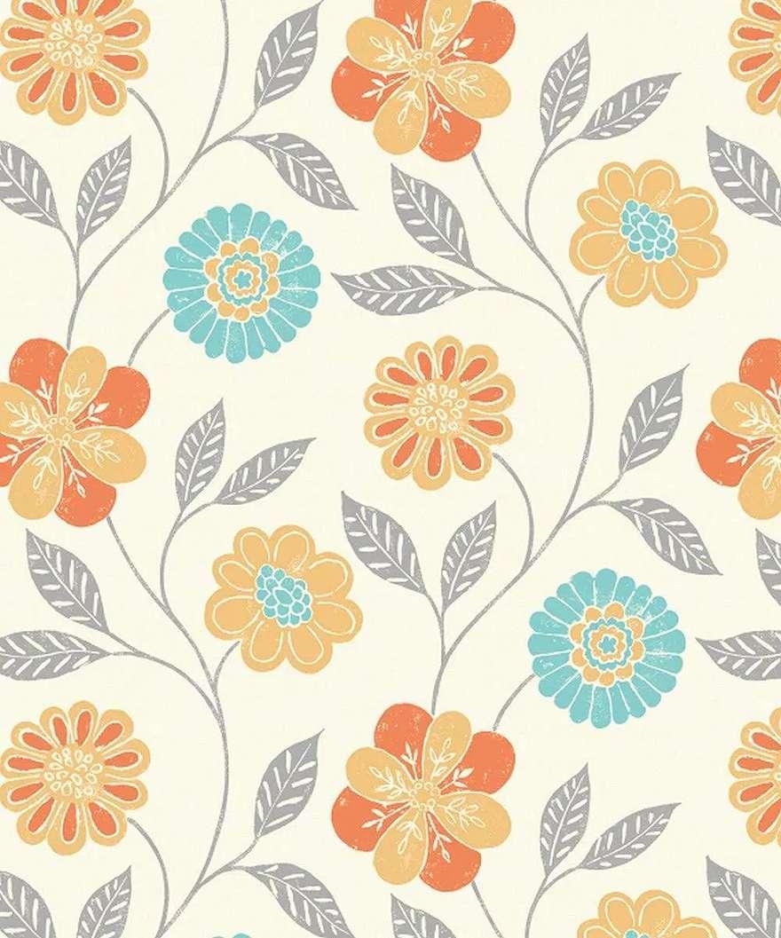 Retro virágmintás színes tapéta