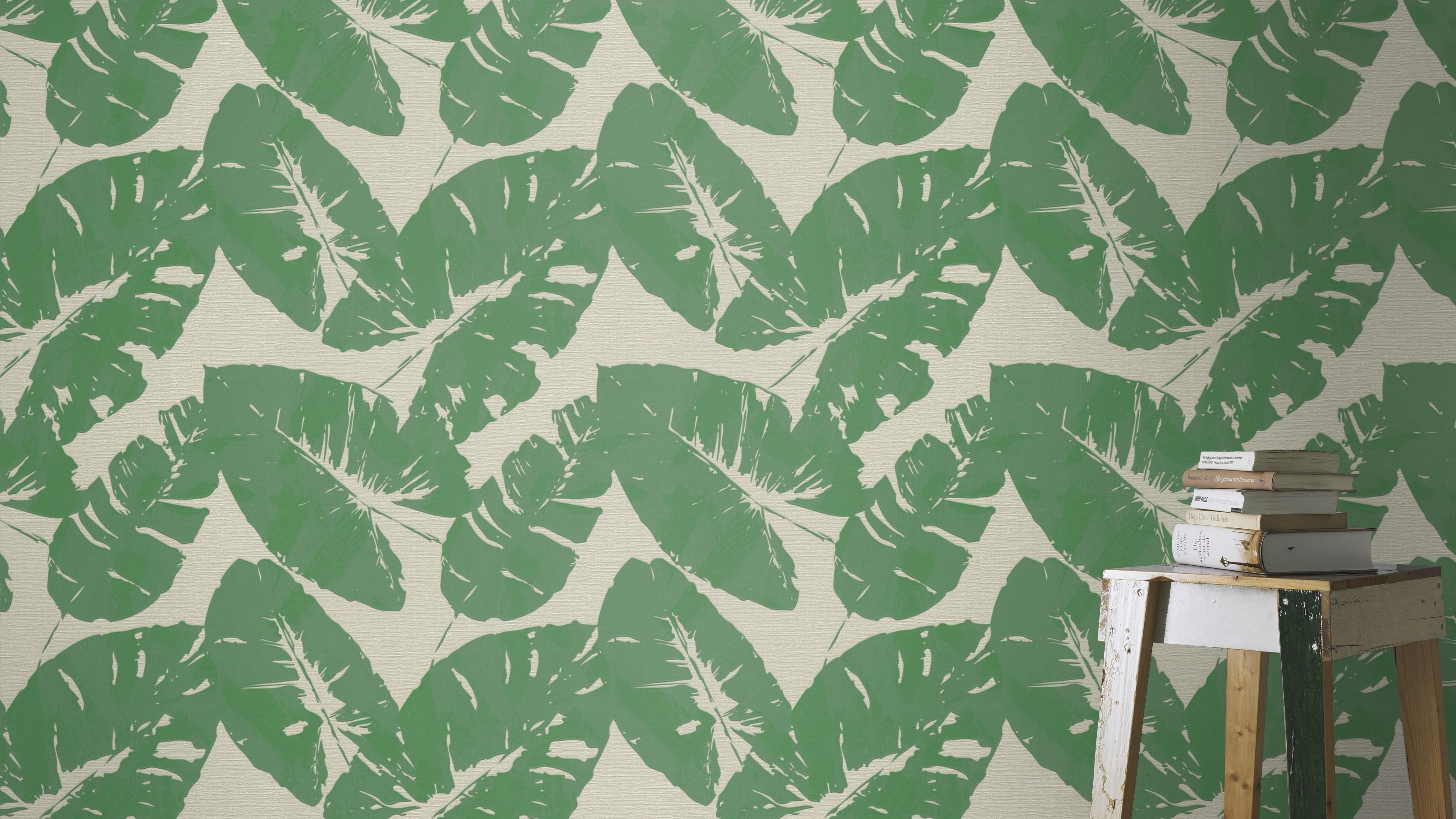 Retro zöld levélmintás tapéta
