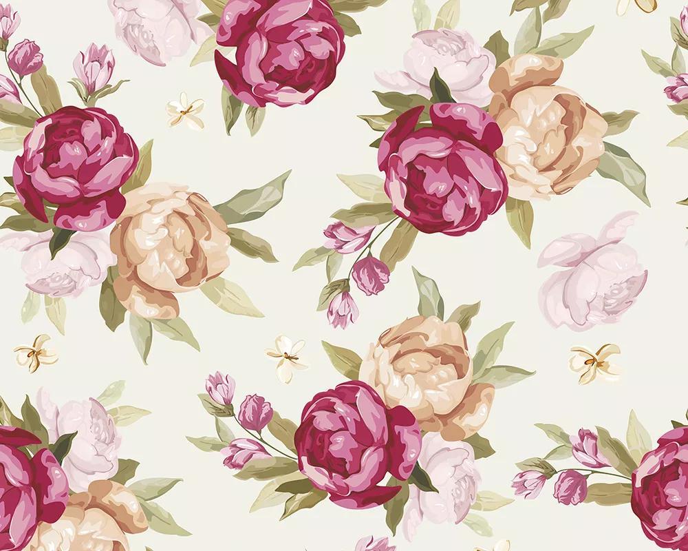 Romantikus akvarell hatású rózsa mintás vlies fali poszter