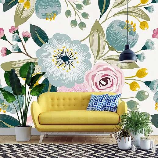 Romantikus akvarell hatású virágmintás vlies fali poszter