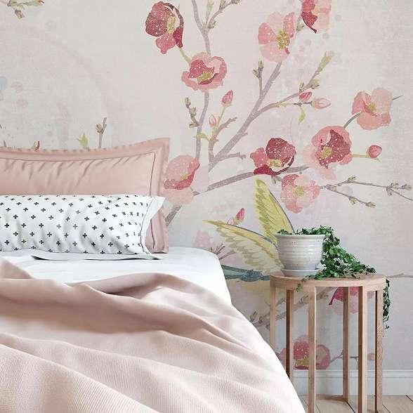 Romantikus akvarell madár és virágmintás fali poszter