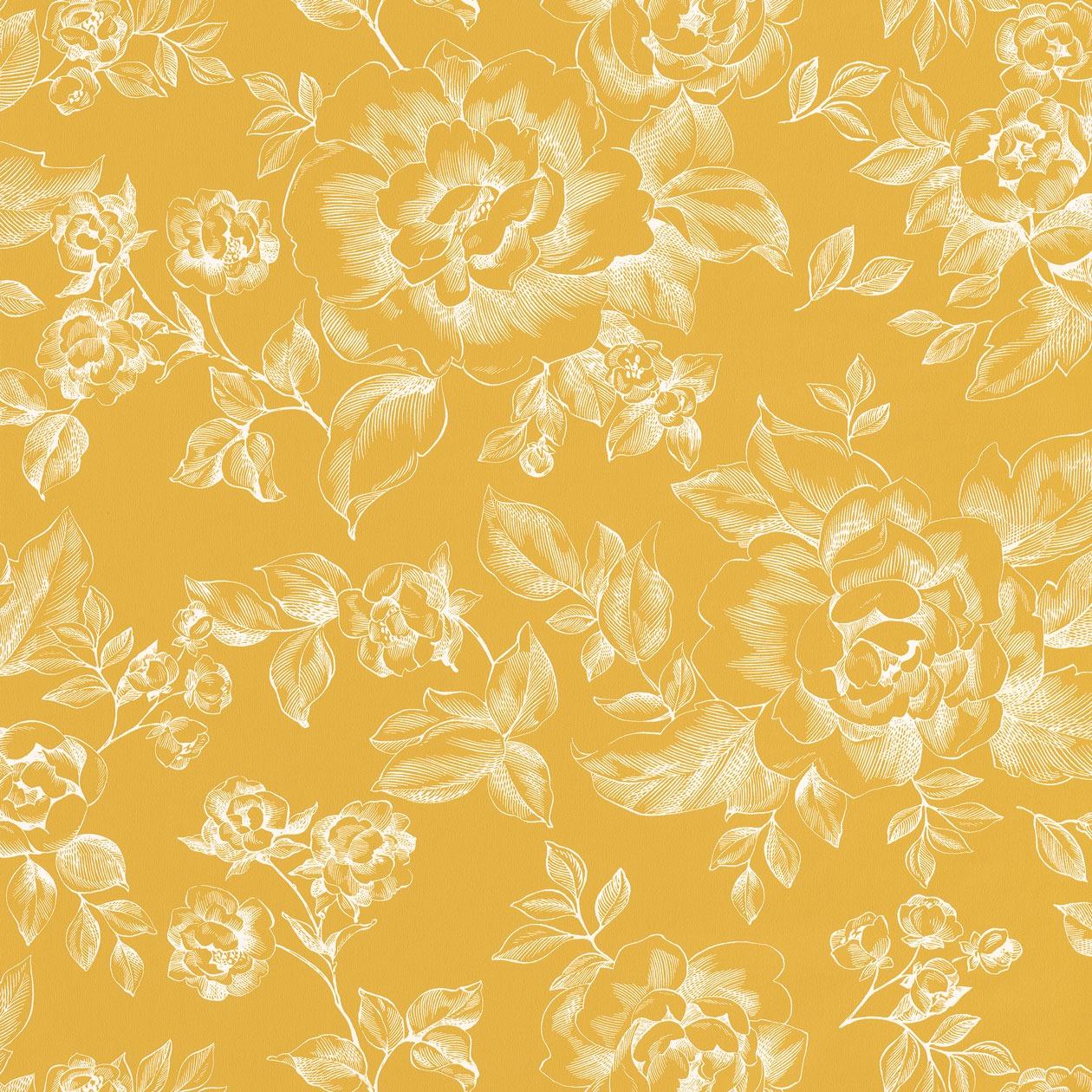 Romantikus arany színű virágmintás tapéta