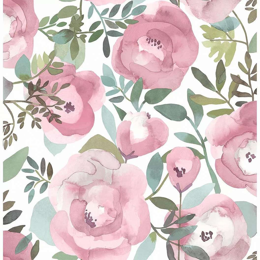 Romantikus hangulatú akvarell rózsa mintás vlies tapéta
