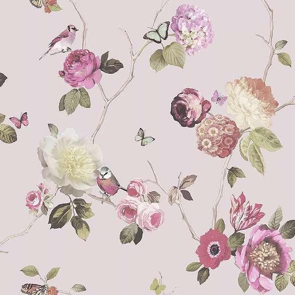 Romantikus hangulatú madár, virágmintás tapéta