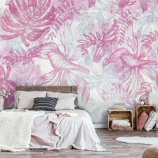 Romantikus hangulatú rózsaszín levélmintás fali poszter