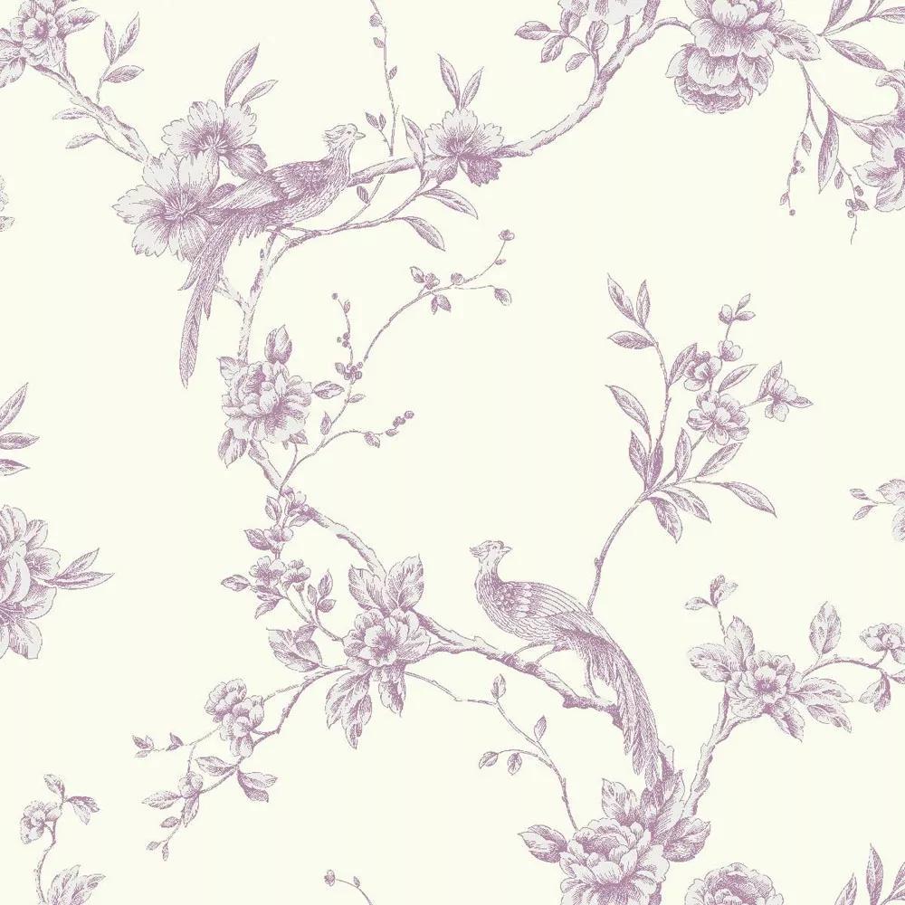 Romantikus hangulatú tapéta lila színben klasszikus madár mintával
