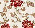 Romantikus hangulatú tapéta piros virágmintával