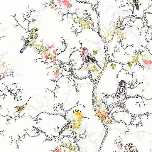 Romantikus madár mintás vlies prémium tapéta