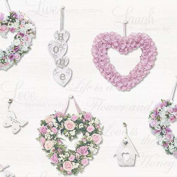 Romantikus vintage tapéta szív mintákkal deszkás háttéren