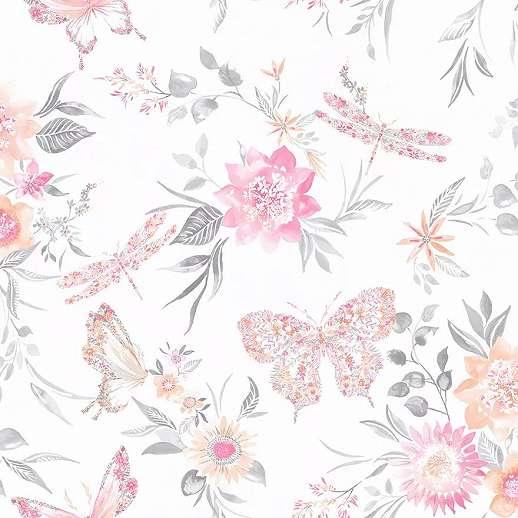 Romantikus virág és pillangó mintás részletgazdag vlies tapéta
