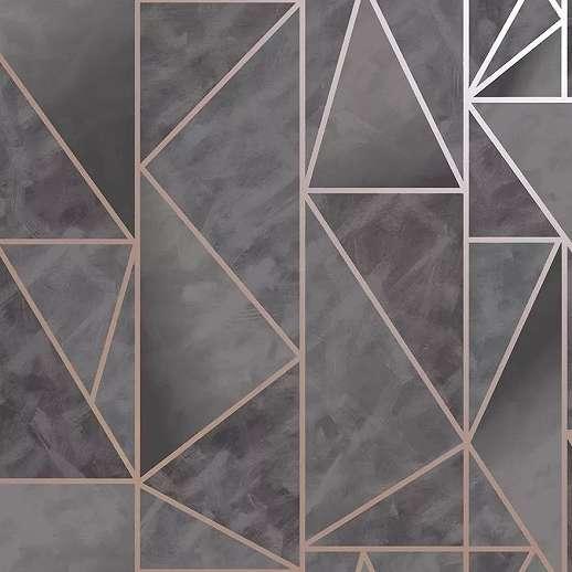Rozé arany sötétszürke geometrikus mintás vlies tapéta