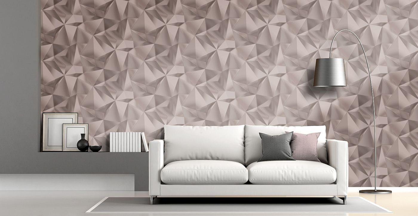Rozé színű tükröződő felületű geometriai mintás tapéta