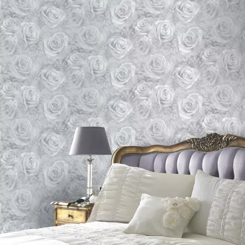 Rózsa mintás tapéta ezüst, szürke színben