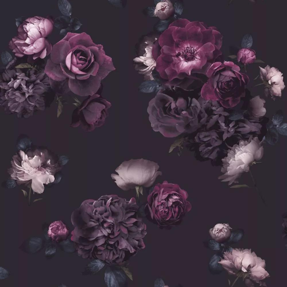 Rózsa mintás tapéta feket alapon