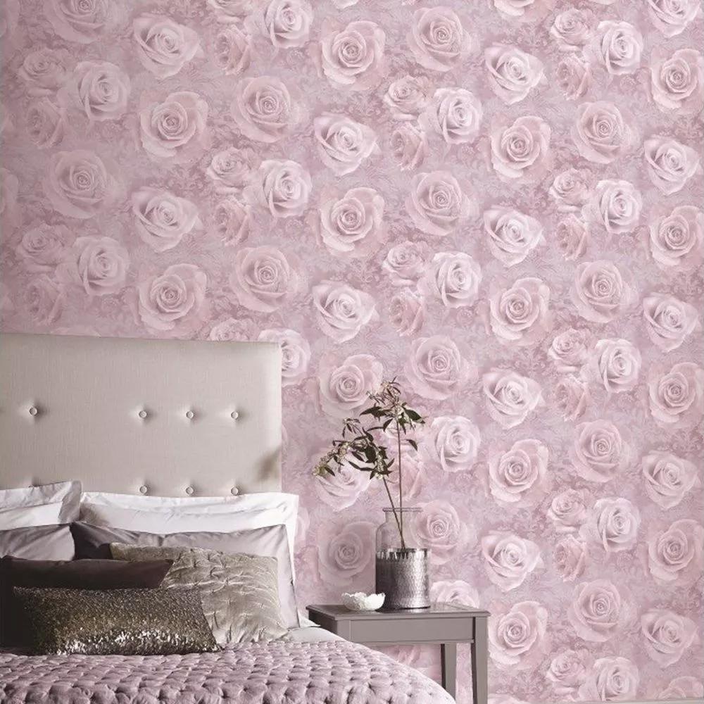 Rózsa mintás tapéta lila színben