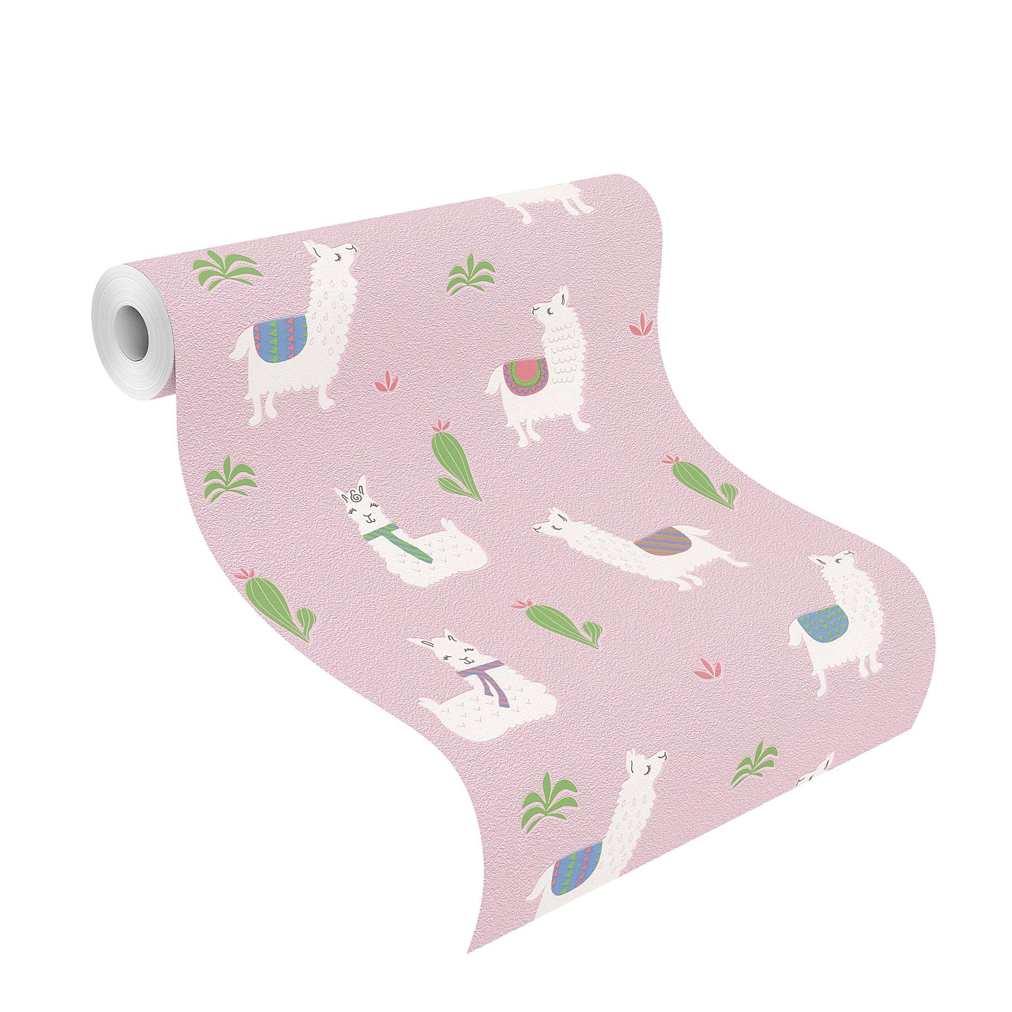 Rózsaszín alapon láma mintás tapéta lányos szobába