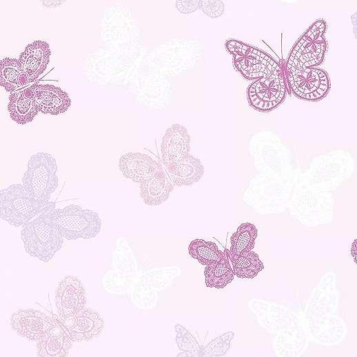 Rózsaszín alapon lila rózsaszín pillangó mintás tapéta lányszobába