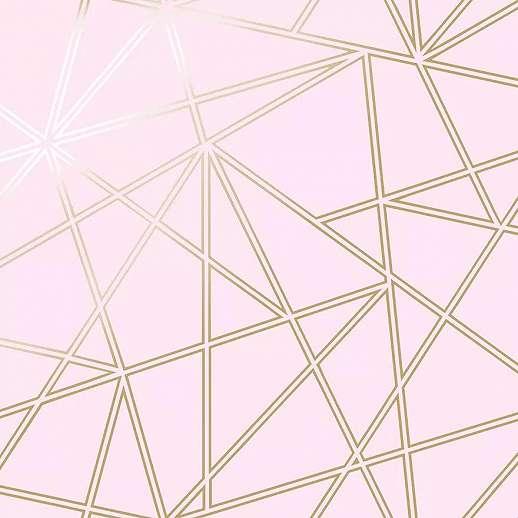 Rózsaszín alapon metál fényű modern arany geometrikus mintás vlies tapéta